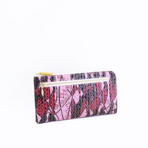 【NANIWAYA】革友禅 pigエナメルL型長財布/黒×ピンク