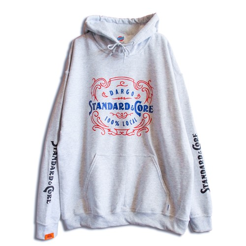 "【DARGO】""Pin Stripe Logo"" Pull Over Hoodie (ASH GRAY)"
