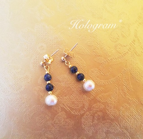 Lapis&cotton pearl pierce