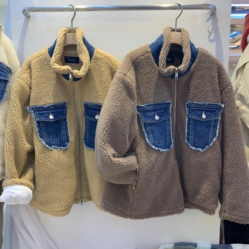 もこもこデニムポケットジャケット ジャケット アウター デニムジャケット 韓国ファッション