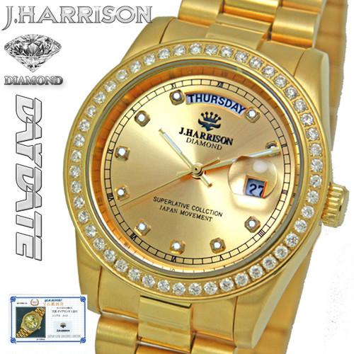 【J.HARRISON】 JH-089GG 10石天然ダイヤモンド付ディディト時計