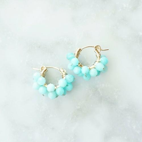 送料無料14kgf*Amazonite pavé earring / pierced earring M