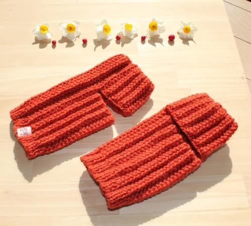 草木染(茜染め) ウール100% 手編み レッグウォーマー アームウォーマー 冷え取り