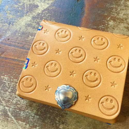 SMILE Leather Half wallet mini / ★+♡concho