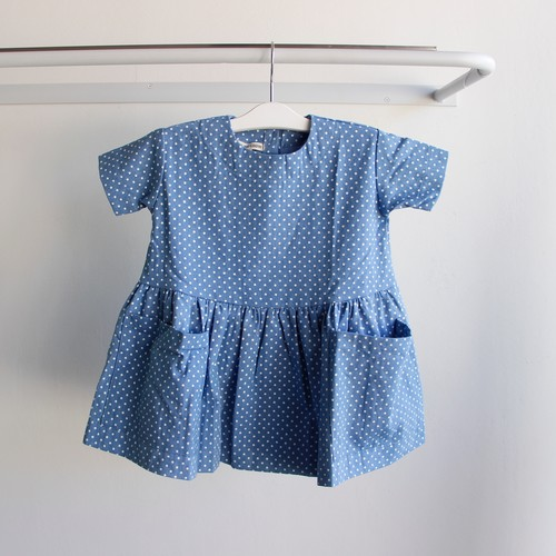 《AS WE GROW 2018SS》Pocket Dress / denim dots / 18-36M・3-5Y