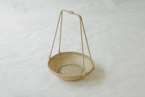 日本製 白竹 手付 廻し篭 上 小
