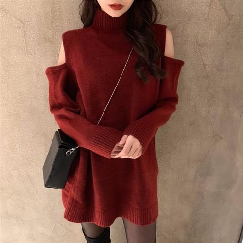 【ワンピース】韓国系ファッションハイネック無地長袖ニットワンピース25239391