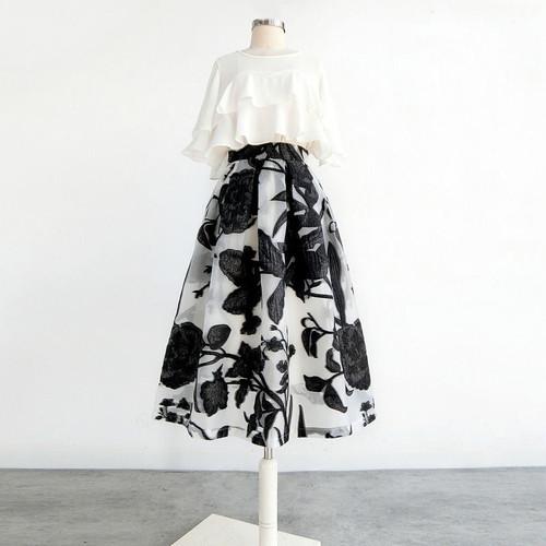 【set】気質満点セットアップフェミニンフリルトップス+大振裾スカート