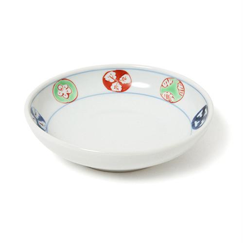 染錦丸紋4.5寸深皿