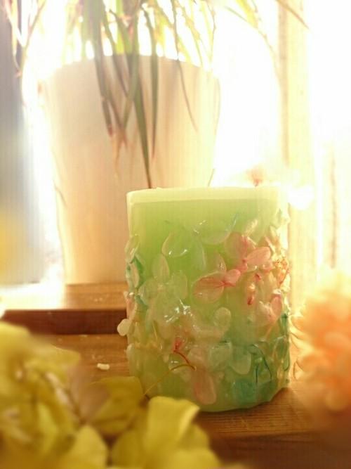 お花のキャンドル グリーン