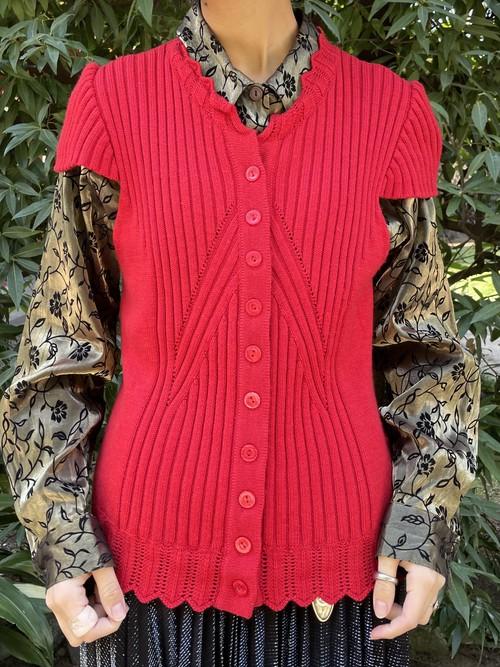 (TOYO) french sleeve lib knit tops