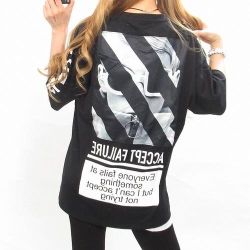 ストリート ロゴ刺繍 袖ロゴ バクプリ photo×ワッペン  BIGTシャツ オーバーサイズ ブラック