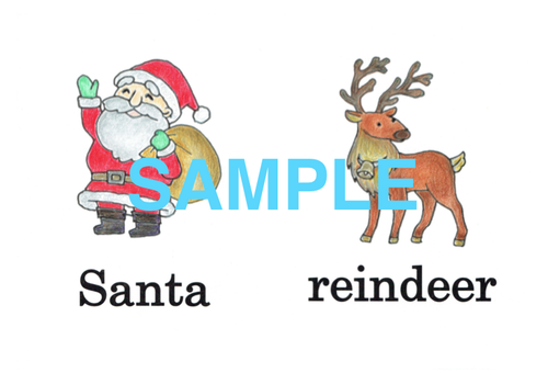 Christmas 絵+英単語 フラッシュカードデータ(カラー)