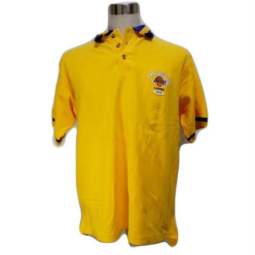 4yel NBA ロサンゼルス レイカース LAKERS ポロシャツ イエロー 黄色 LA B系 男女兼用 西海岸 西系