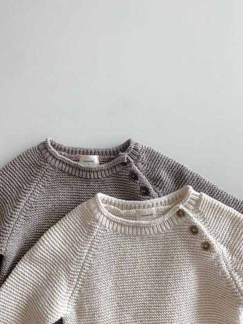 【予約販売】cotton knit crew-neck〈monbebe〉