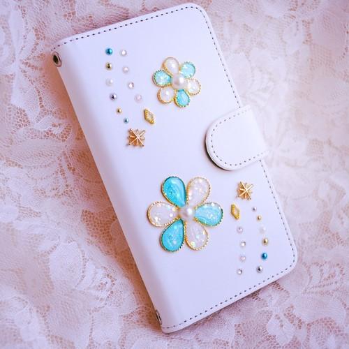 手帳型スマホケース『花のiro -blue-』