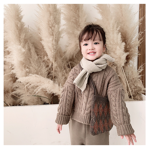 【注文商品】【ベビー / キッズ】Toddler Knit Sweater Round Neck【Brown】