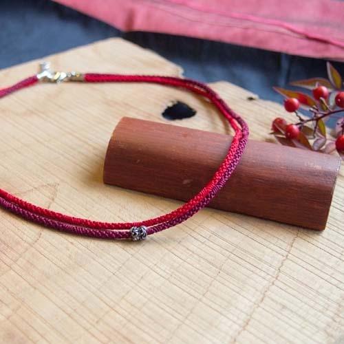 U様リクエスト品■メンズ 絹組ひもショートネックレス(red)