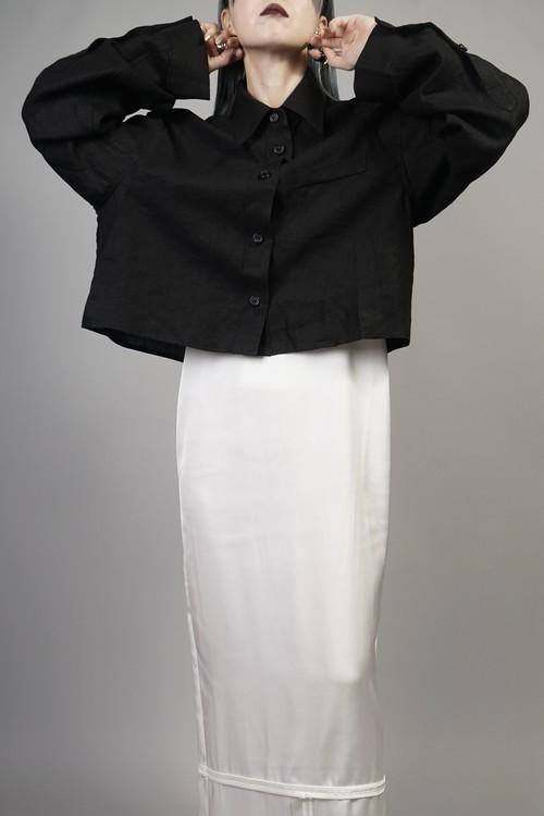 SHORT LINEN JACKET (BLACK) 2107-55-8