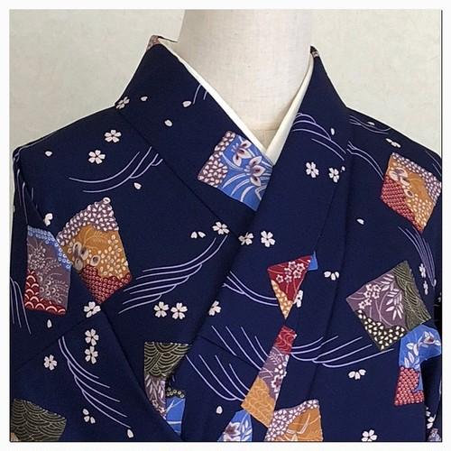 ★小紋 花札 かるた 青 袷 桜 洗える 着物★縁ちゃぶ
