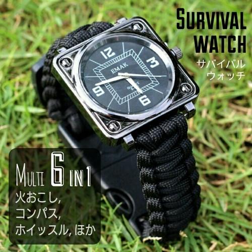 サバイバル多機能腕時計◆Eldori◆火起こし,ホイッスル付き◆未使用