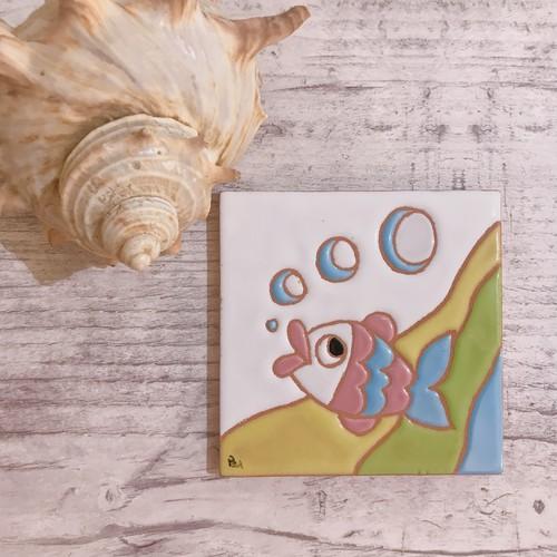 スペインタイル 10cm ×10cm お魚柄