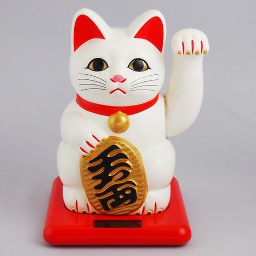 小型ソーラー招き猫 (白)