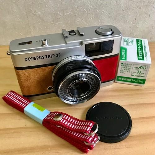 リメイクカメラ OLYMPUS TRIP35(ライトブラウン•レッド)