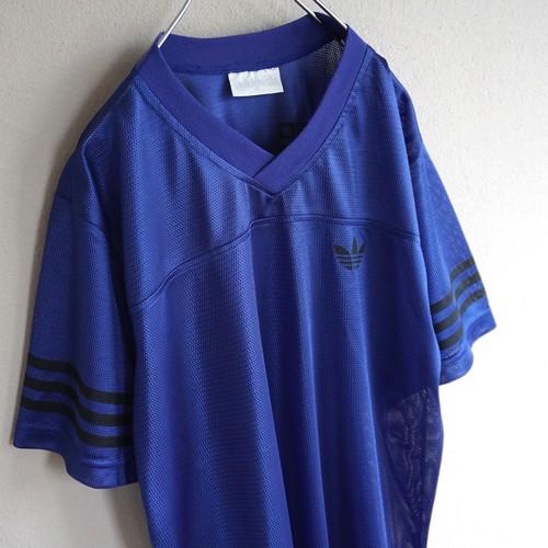 1990's [adidas] メッシュゲームTシャツ ブルーパープル×ブラック 表記(M) アディダス