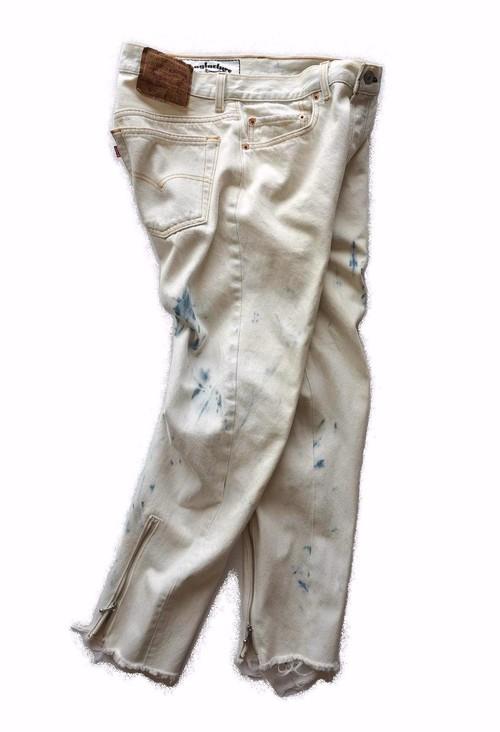"Magfacture ""ZIPPER BACK HEM JEANS"" 90's Levi's 501 BLEACHED WHITE size:W32"