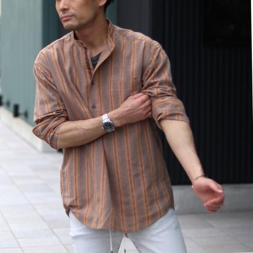 JOHNBULL / ジョンブル リネンプルオーバーストライプシャツ