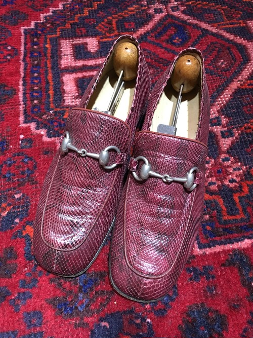 .GUCCI PYSON LEATHER HORSE BIT LOAFER MADE IN ITALY/グッチパイソンレザーホースビットローファー 2000000036755