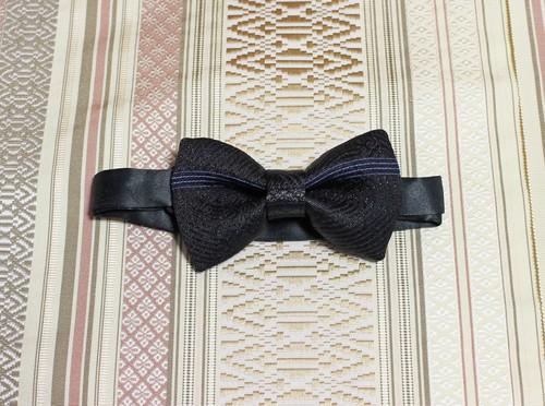 博多織蝶ネクタイ(BT-038)黒 ブラック 青 ブルー モノクロ  礼装 メンズ ボウタイ