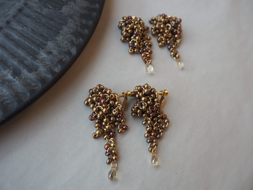 mix beads chandelier pierce/earrings