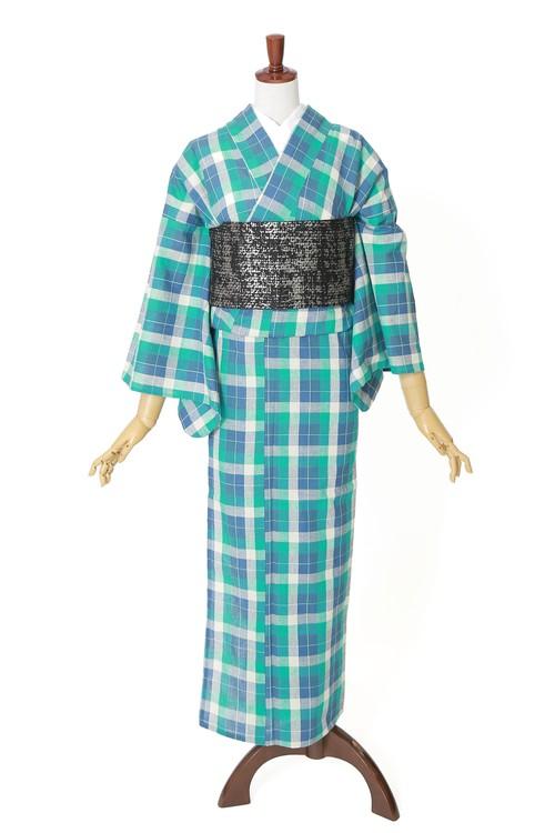 綿麻 片貝木綿 単衣きもの 仕立て上がり 格子№204 ブルー系 着用時期5月~10月