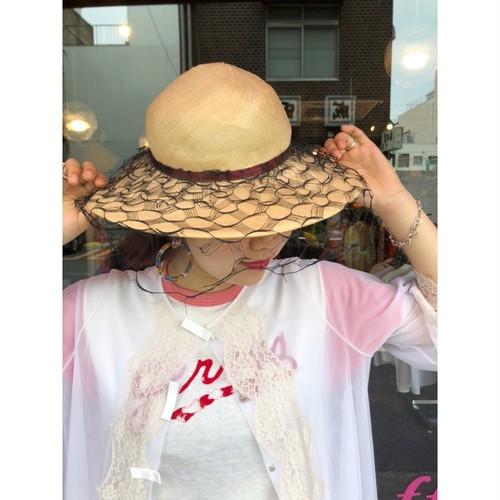 beige black tulle design summer hat [B2375]