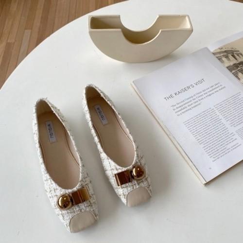ツイードパンプス モチーフ エレガント 結婚式 オフィス フェミニン 靴 韓国
