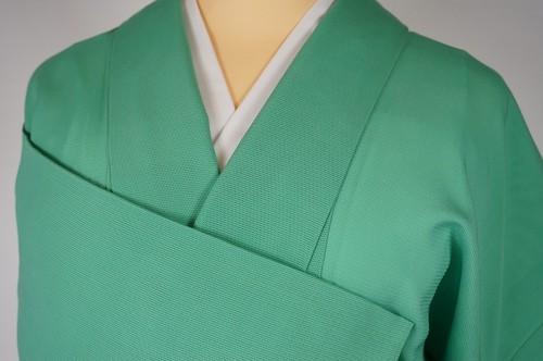【夏】色無地 絽 正絹 一つ紋 黄緑 若竹色 232