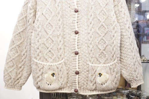 Blarney aran Cardigan w/sheep embroideries