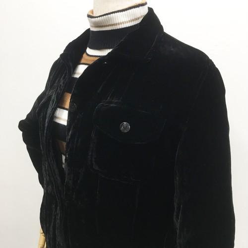 90's ベロアジャケット ブラック Gジャンタイプ