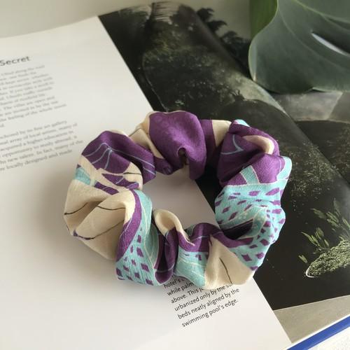 【KIMONO】アンティーク着物シュシュ・水色紫