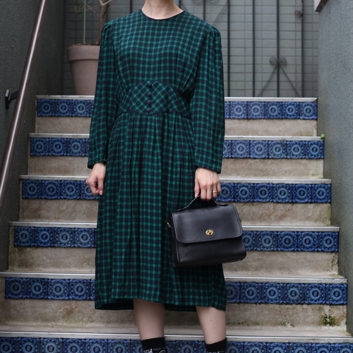 USA VINTAGE CHECK PATTERNED LONG SLEEVE ONEPIECE/アメリカ古着チェック柄長袖ワンピース