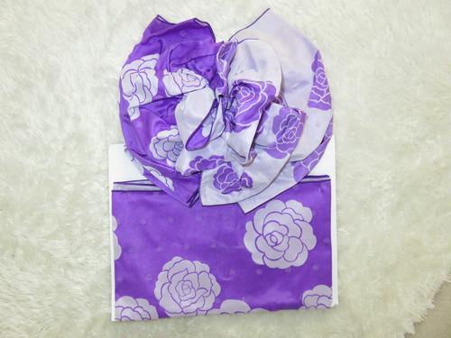 【販売】フラワー帯2 薔薇柄・濃い紫色