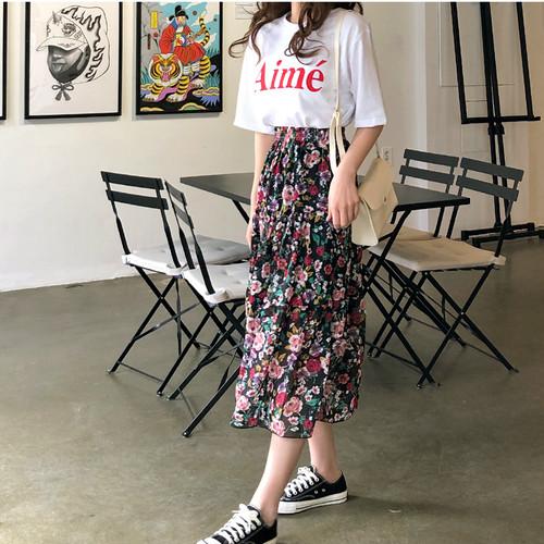 Tシャツ+花柄ロングスカート セットアップ