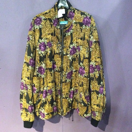 80's  black×yellow pattern blouson [B1219]