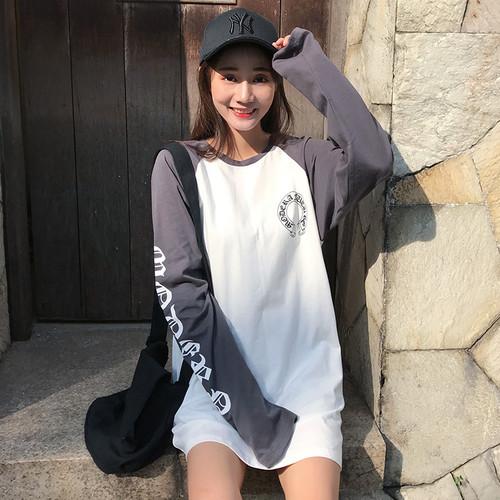 【トップス】カジュアル切り替え配色ラウンドネックTシャツ22350773