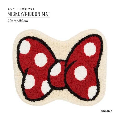 【最短3営業日で出荷】ラグマット ディズニー ミッキー リボンマット レッド 40cm×50cm Disney MICKEY/Ribbon MAT スミノエ SUMINOE ラグ フロアマット ab-m0073