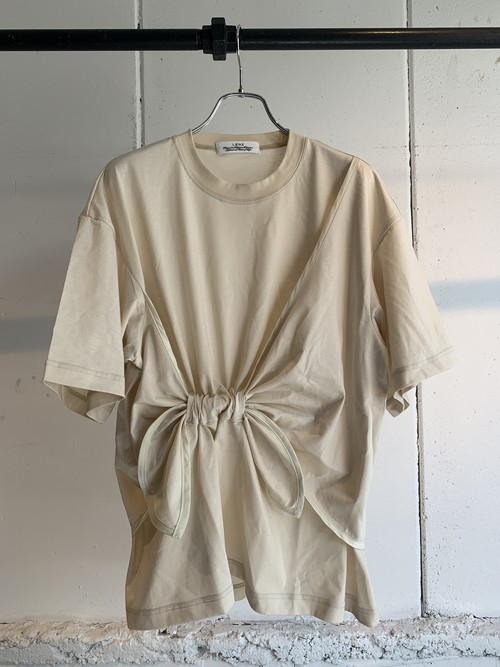 LENZ WAIST RIBBON T-SHIRT (Cream)
