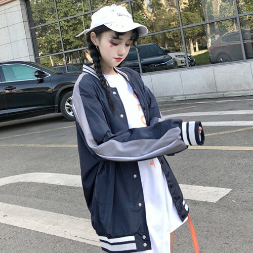 【アウター】ストリート系配色長袖切り替えジャケット23175358