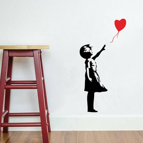 ウォールアートステッカー Banksy 【並行輸入品】 ハート風船と少女